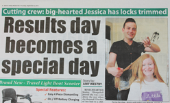 Cutting crew: big-hearted Jesica has locks trimmed